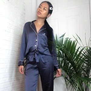 Victoria Secret Satin PJ Set (grey)   Sleepwear